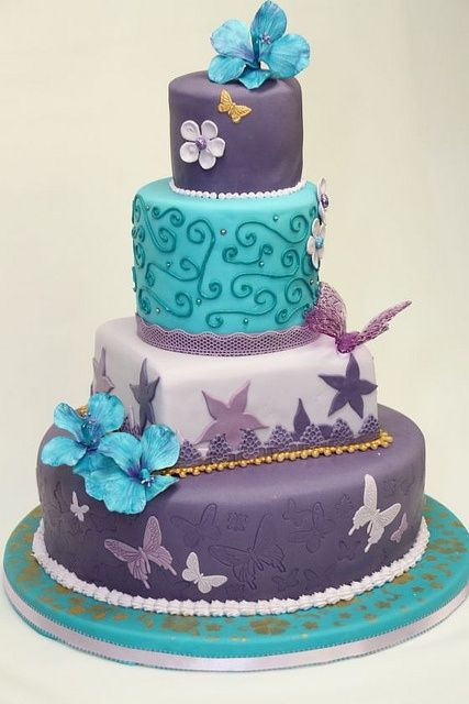 Turquoise And Purple Wedding Cakes  Pinterest • The world's catalog of ideas