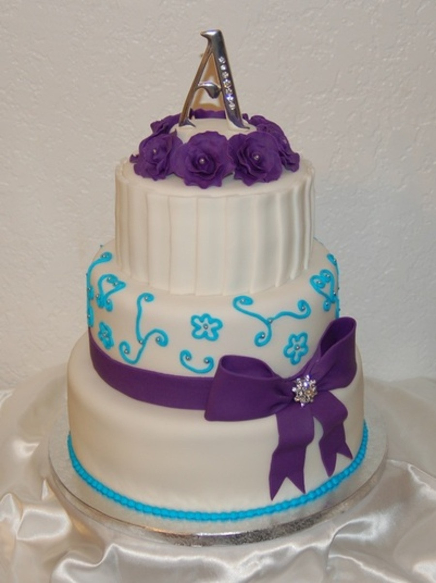 Turquoise And Purple Wedding Cakes  Purple And Turquoise Wedding Cake CakeCentral