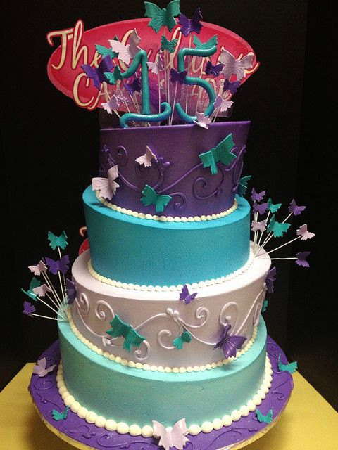 Turquoise And Purple Wedding Cakes  Turquoise and purple quince cake