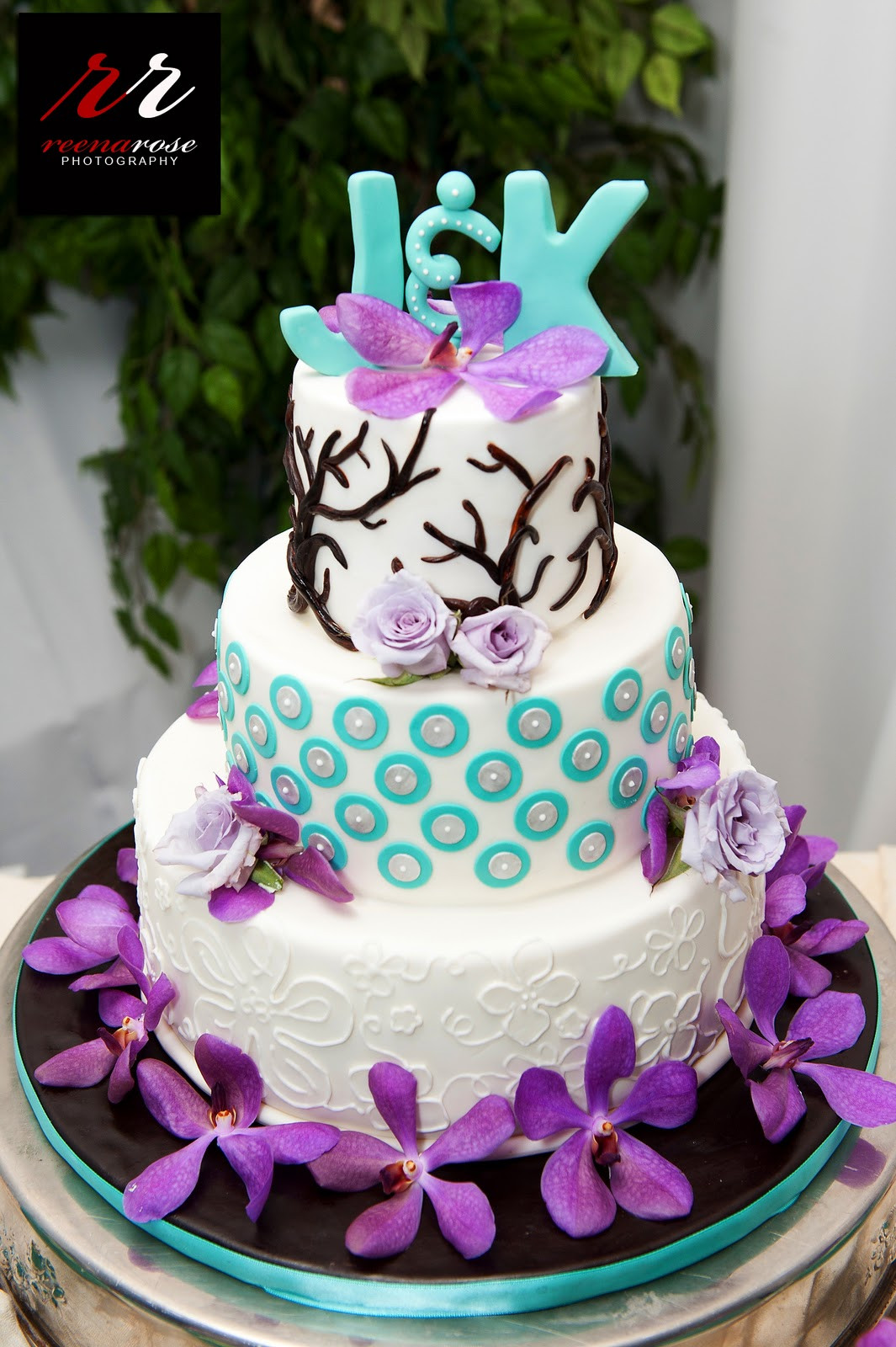 Turquoise And Purple Wedding Cakes  10 10 10 For Jen & Ken