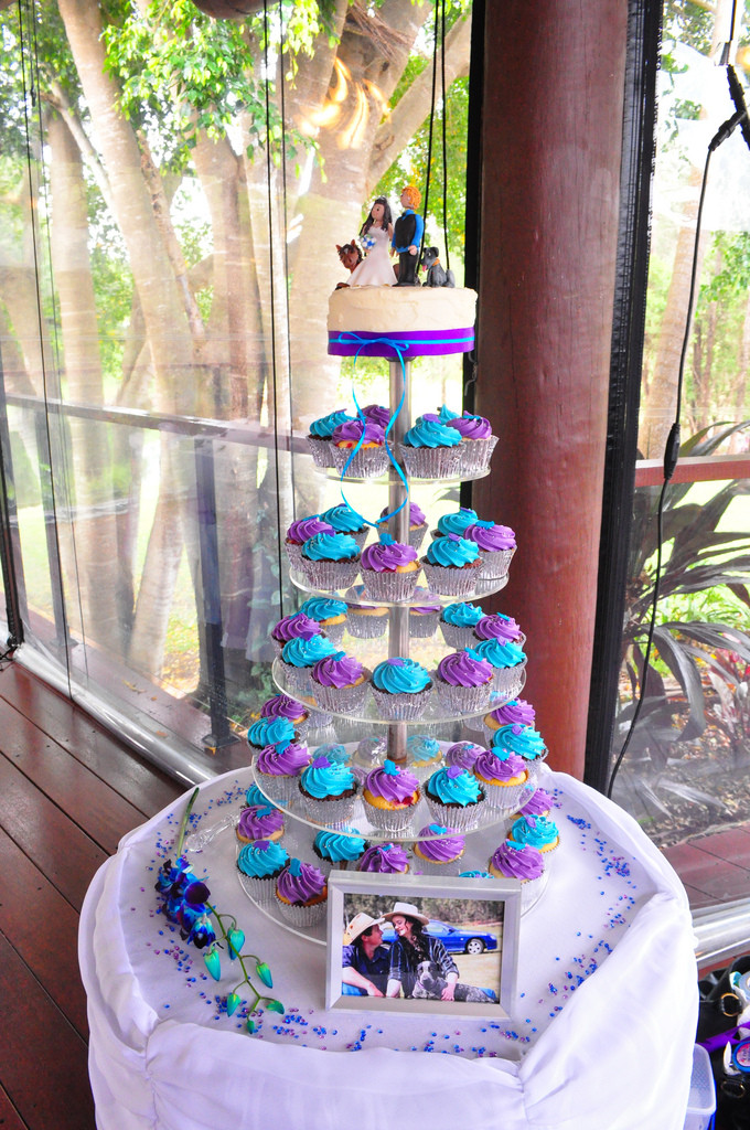 Turquoise And Purple Wedding Cakes  Purple and turquoise wedding cupcakes