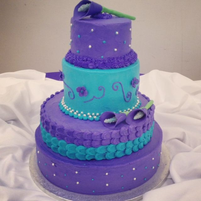 Turquoise And Purple Wedding Cakes  Purple and Turquoise Wedding cake
