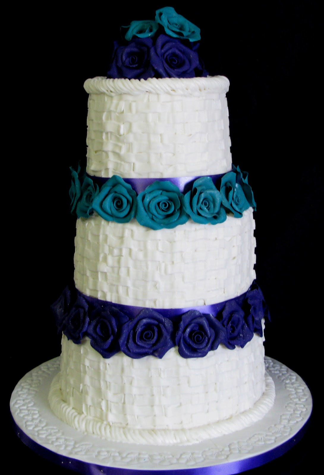Turquoise And Purple Wedding Cakes  Sugarcraft by Soni Three Tier Wedding Cake Tiers of