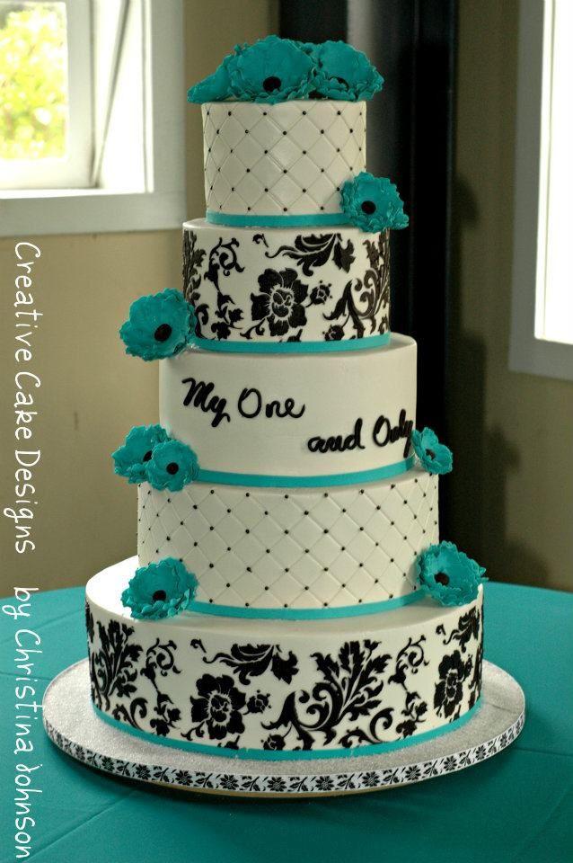 Turquoise And Purple Wedding Cakes  teal wedding ka ing