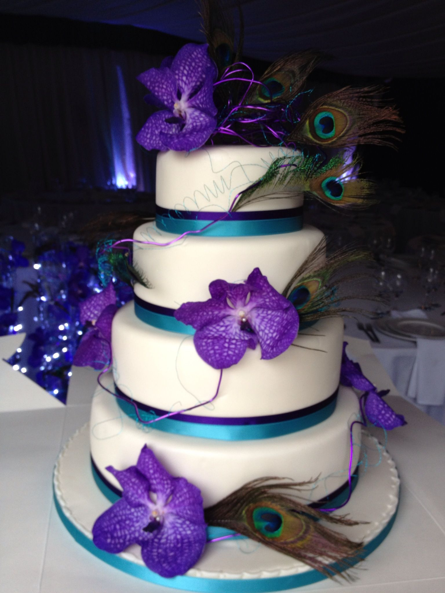 Turquoise And Purple Wedding Cakes  Turquoise & Purple Cake without the peacock feathers and