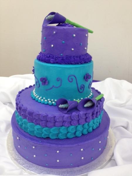 Turquoise And Purple Wedding Cakes  Purple Turquoise Wedding Cake Decorating munity