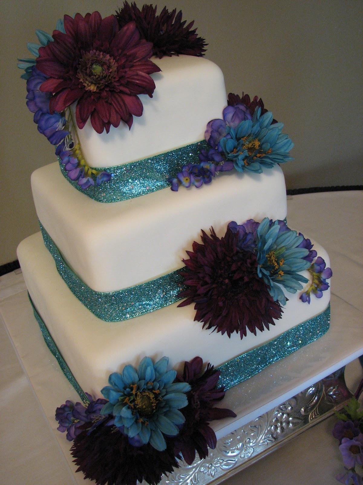 Turquoise And Purple Wedding Cakes  Decadent Designs Brandy s Turquoise and Purple Wedding Cake