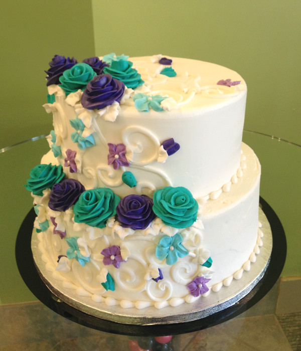 Turquoise And Purple Wedding Cakes  Charlotte Tiered Cake – Classy Girl Cupcakes