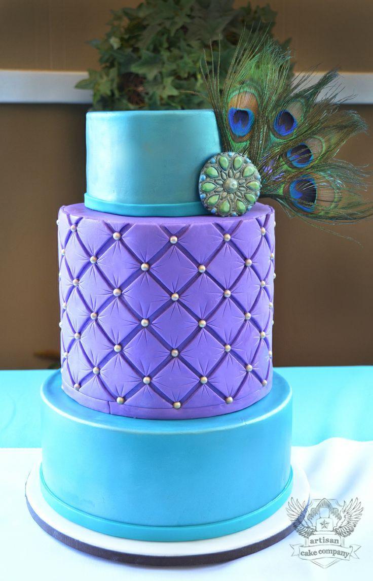 Turquoise And Purple Wedding Cakes  Turquoise and purple wedding cake with peacock feathers