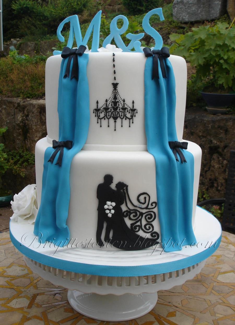 Turquoise And White Wedding Cakes  Wedding Cake Turquoise And White With Silhoutte