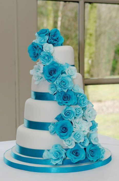 Turquoise And White Wedding Cakes  Turquoise Rose Cascade Wedding Cake Cake by Carrie