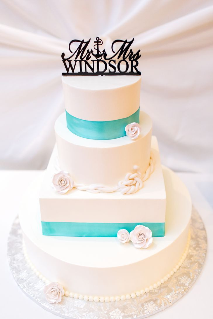 Turquoise And White Wedding Cakes  White Wedding Cake With Turquoise Ribbon