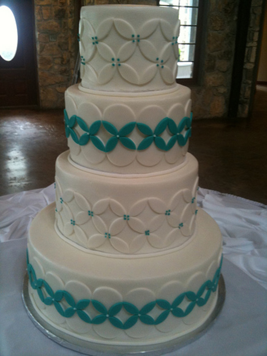 Turquoise And White Wedding Cakes  White Turquoise Wedding Cake CakeCentral