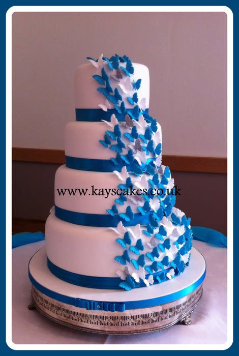 Turquoise And White Wedding Cakes  Deep Turquoise & White Butterfly Cascade Wedding Cake