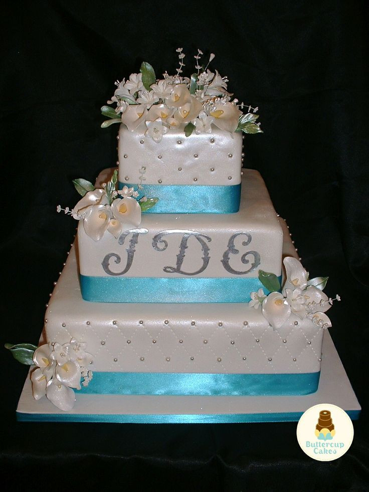 Turquoise And White Wedding Cakes  Turquoise and white wedding cakes idea in 2017