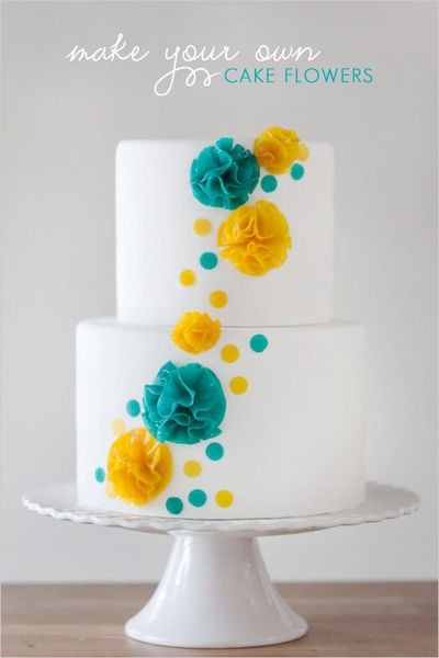 Turquoise And Yellow Wedding Cakes  modern bright and whimsical turquoise and yellow wedding