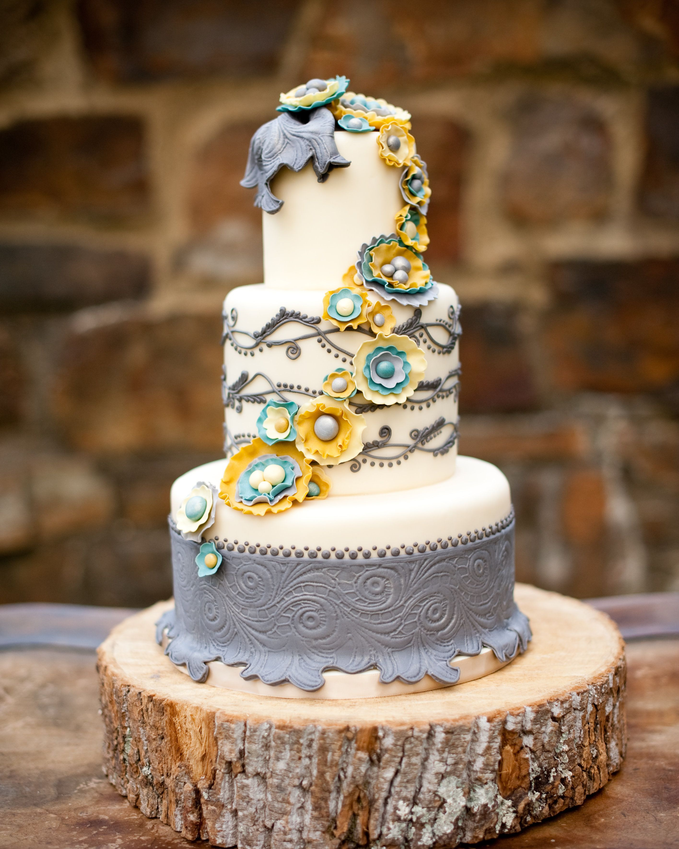Turquoise And Yellow Wedding Cakes  Shabby chic yellow turquoise and gray cake