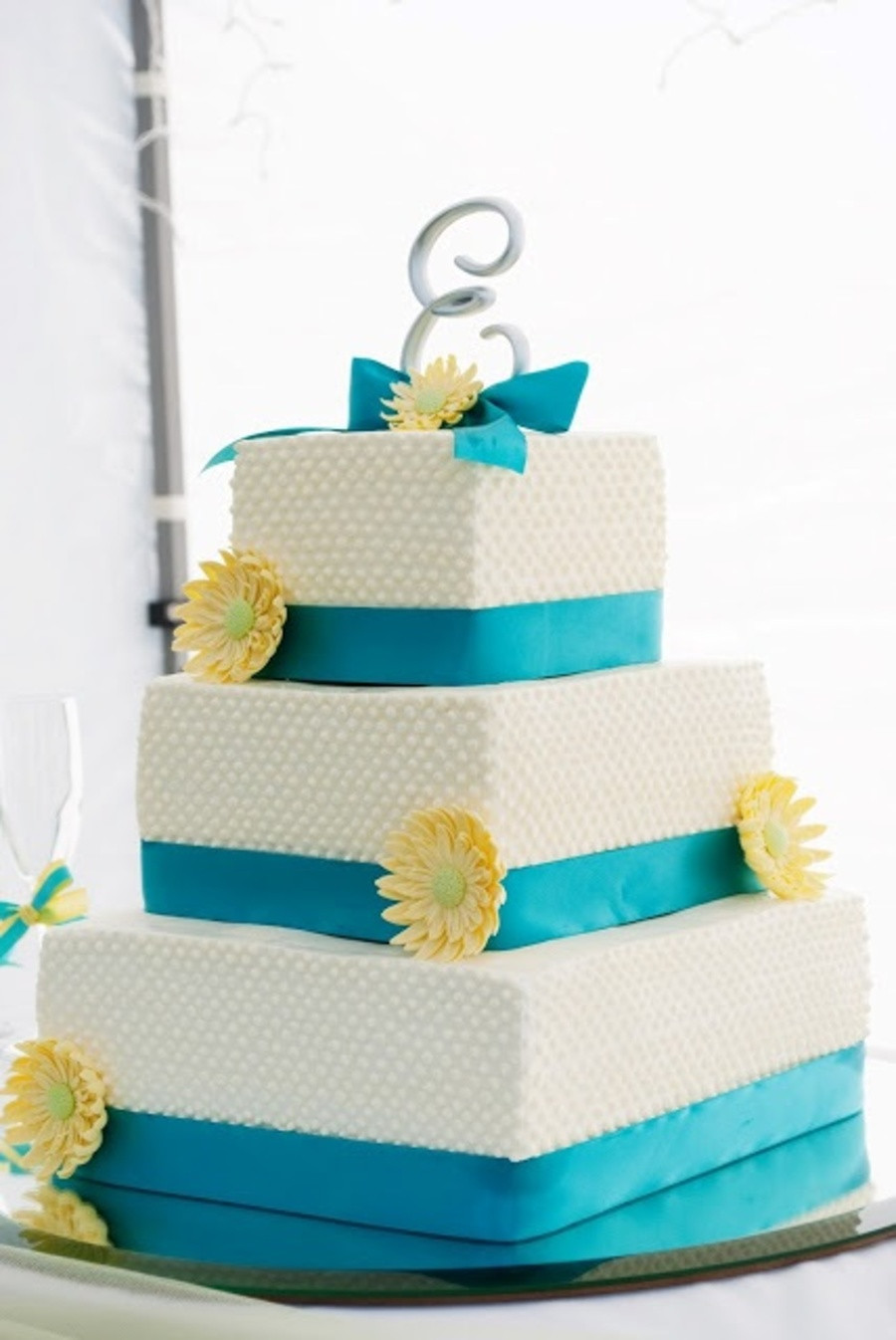 Turquoise And Yellow Wedding Cakes  Turquoise And Yellow Wedding Cake CakeCentral