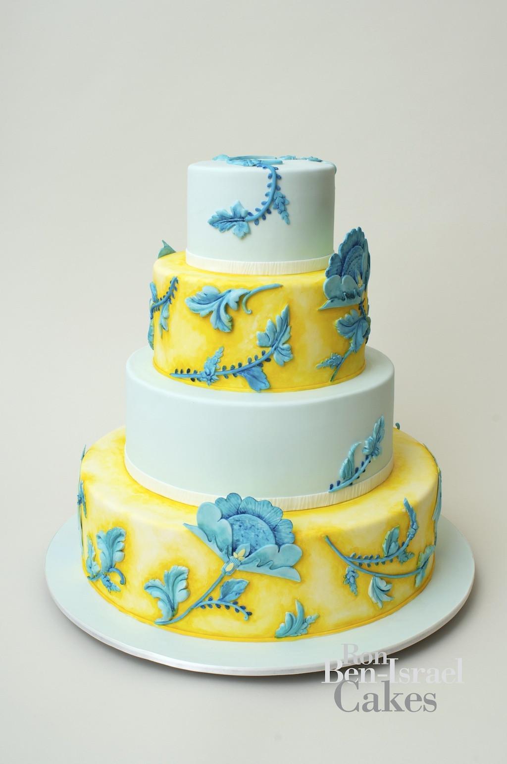Turquoise And Yellow Wedding Cakes  wedding cake inspiration Ron Ben Isreal wedding cakes aqua
