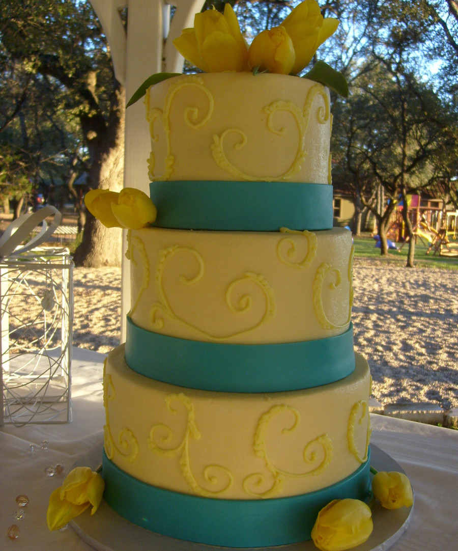 Turquoise And Yellow Wedding Cakes  Yellow And Turquoise Wedding Cake CakeCentral