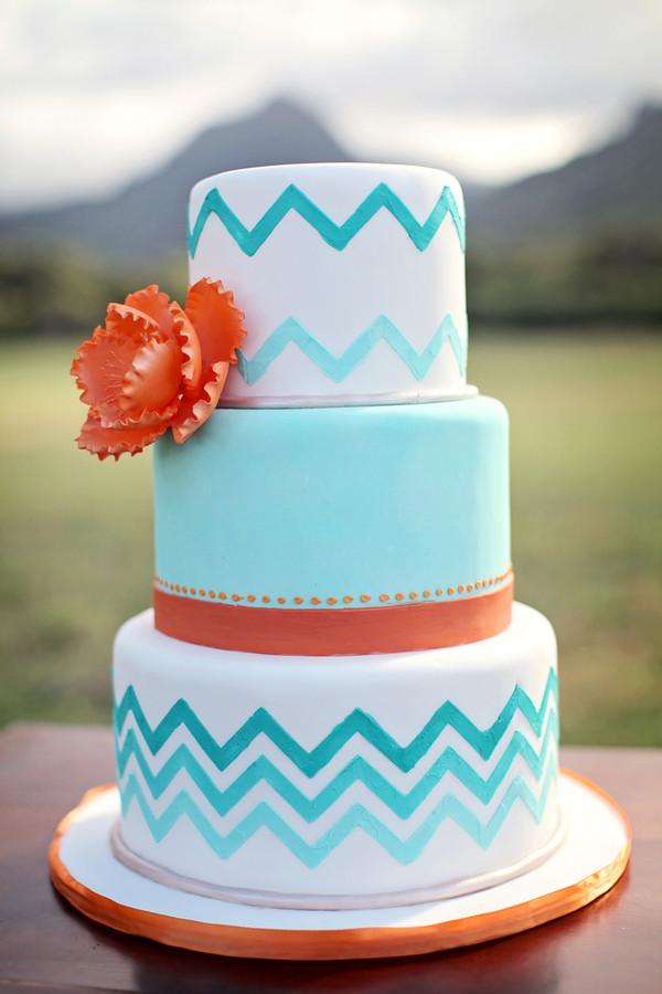 Turquoise And Yellow Wedding Cakes  Turquoise and orange wedding