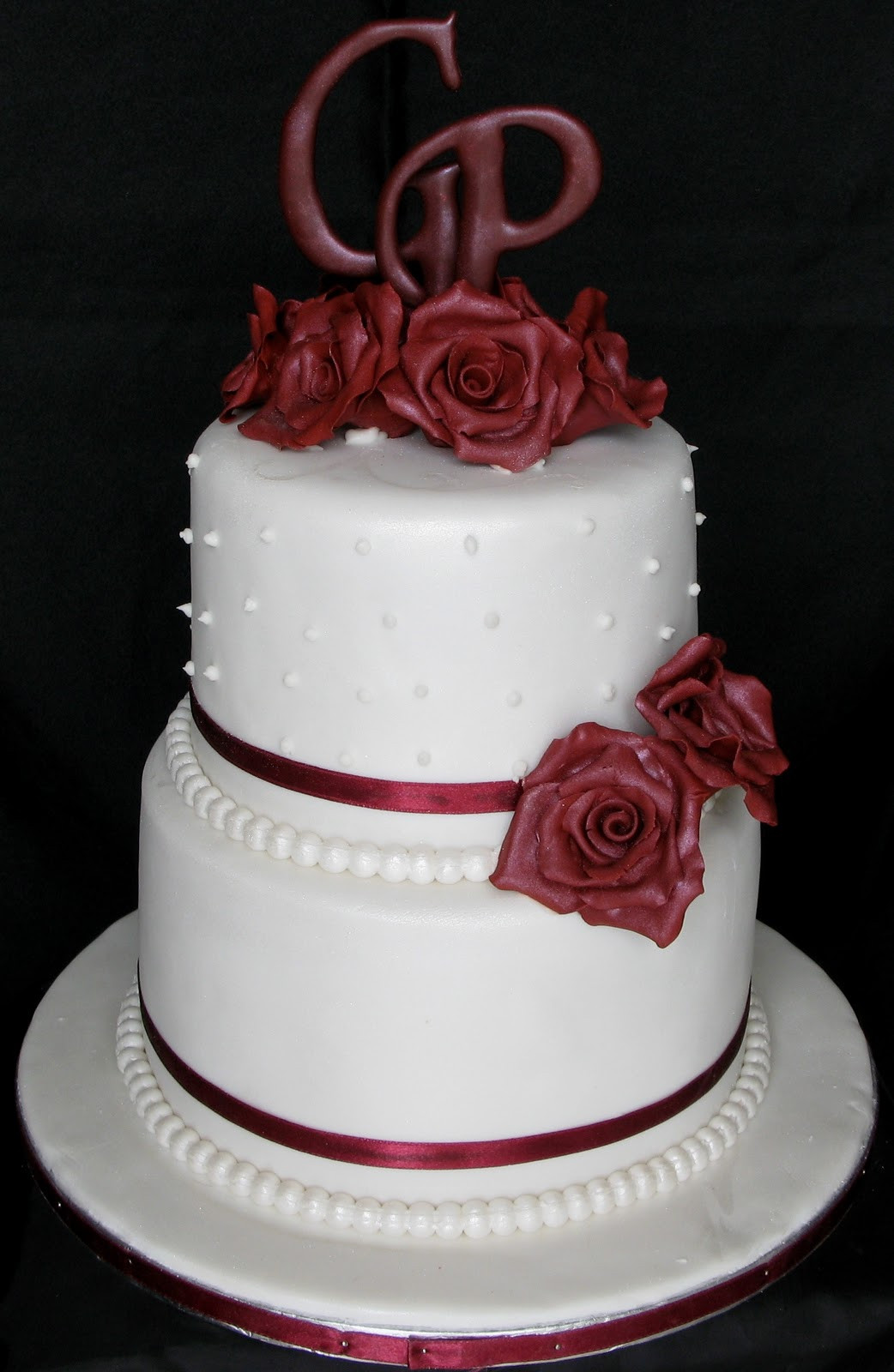 Two Layered Wedding Cakes  Sugarcraft by Soni Two Layer Wedding Cake with Roses