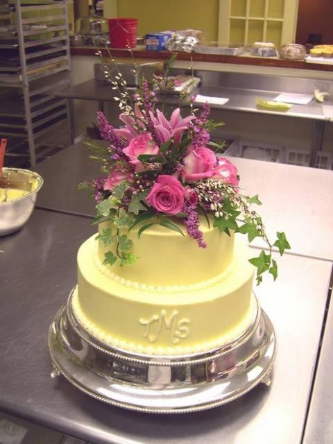Two Layered Wedding Cakes  2 Layer Flowers Wedding Cake in yellow