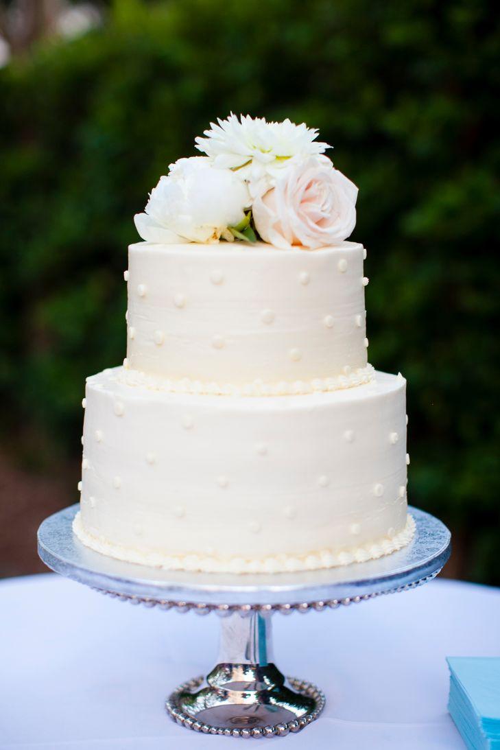 Two Tier Wedding Cakes  Two Tier Polka Dot Buttercream Wedding Cake