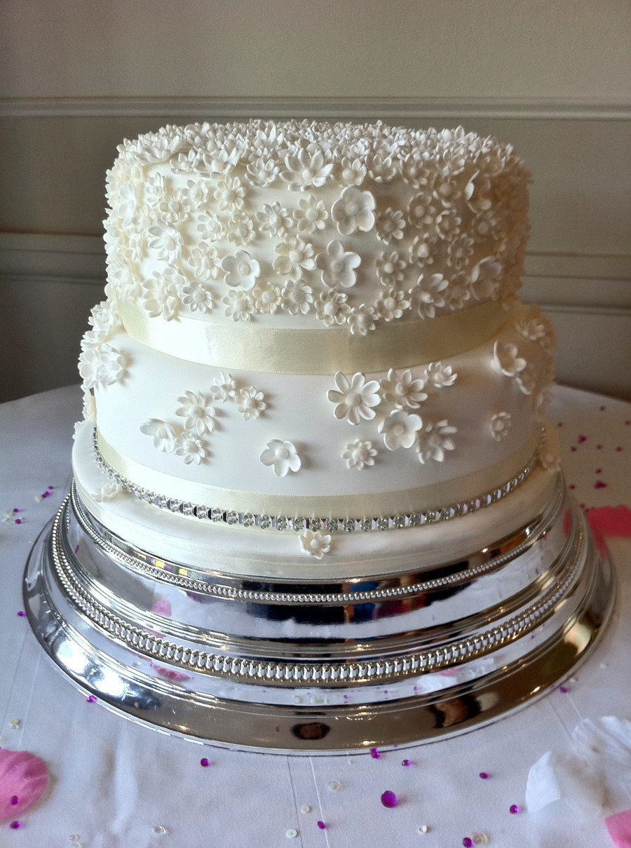 Two Tier Wedding Cakes  Two Tier White Wedding Cake CakeCentral