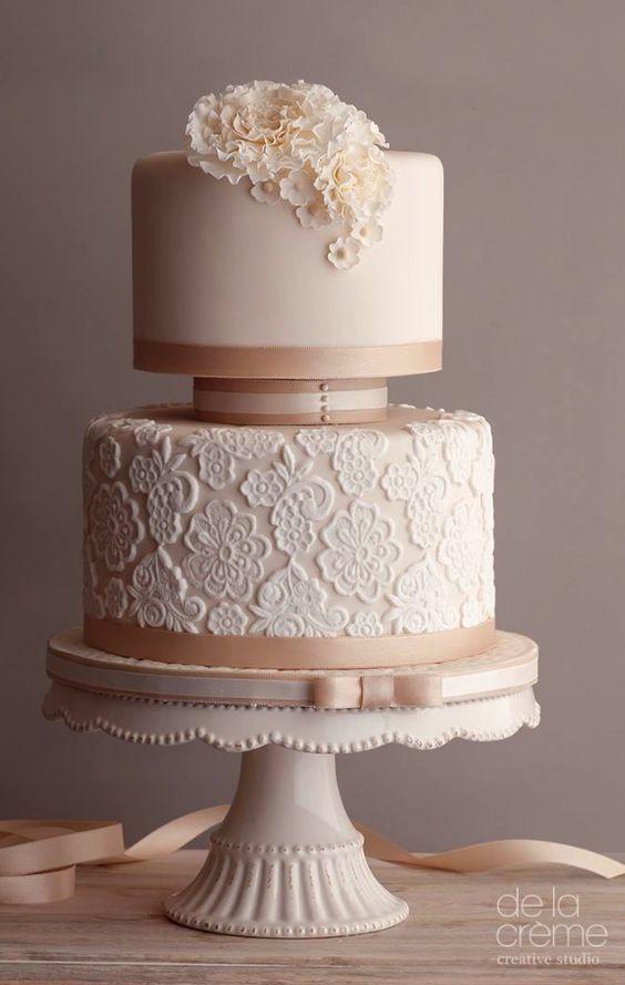 Two Tier Wedding Cakes  Wedding Theme Blush Two Tier Lace Detail Wedding Cake