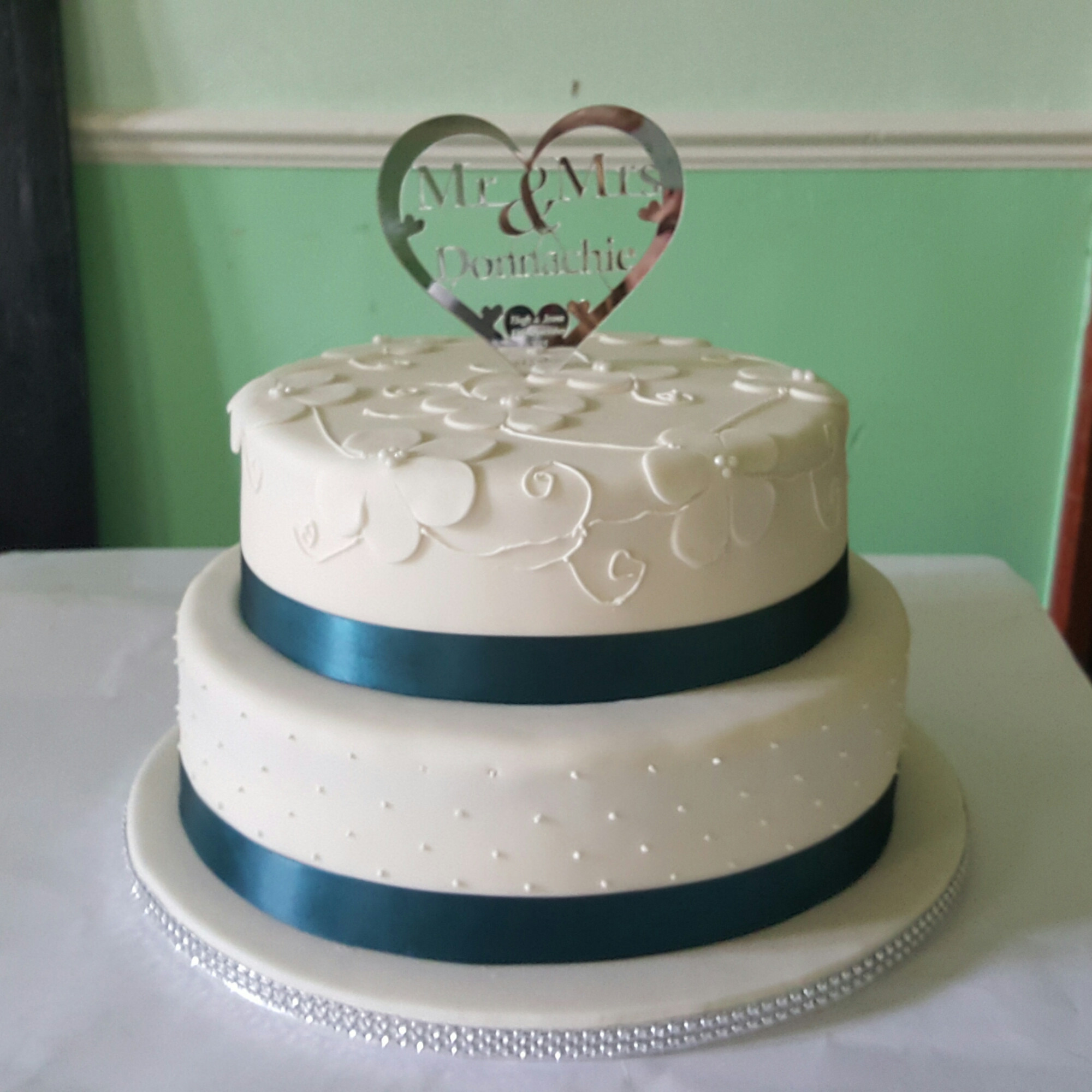 Two Tier Wedding Cakes  2 Tier Teal and Ivory Wedding Cake Cakes By Siobhan
