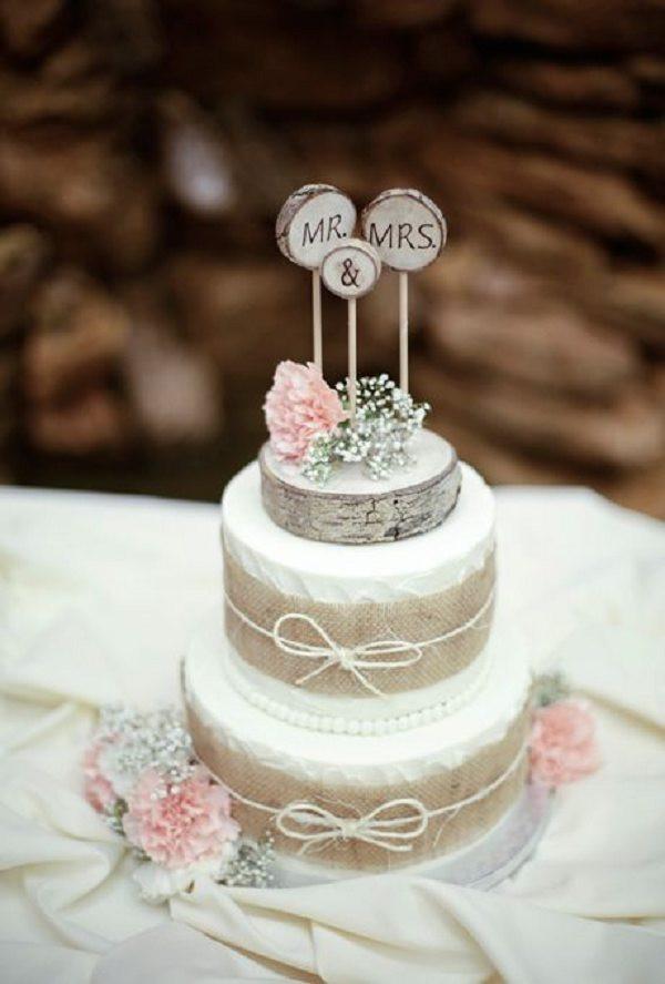 Two Tiered Wedding Cakes  Two Tiered Wedding Cake with Burlap Ribbon