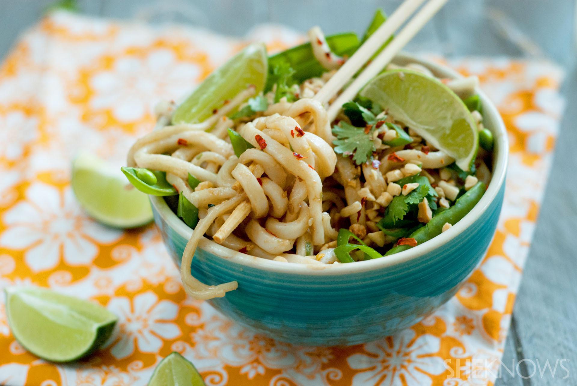 Udon Noodles Healthy  Takeout fake out Coconut peanut udon noodle bowls