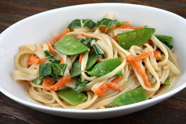 Udon Noodles Healthy  Udon Noodles with Asian Ve ables and Peanut Sauce