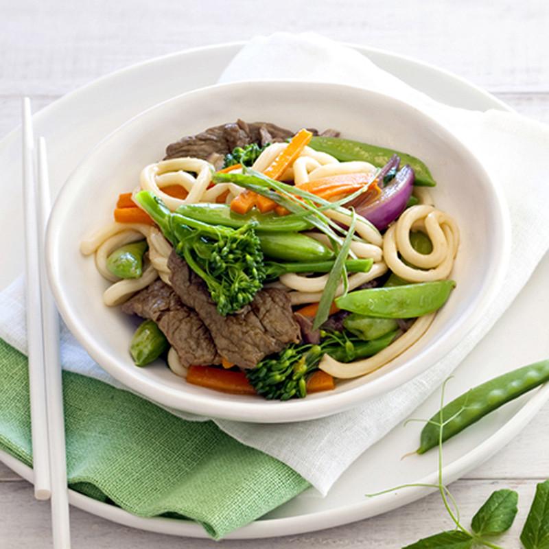 Udon Noodles Healthy  Udon noodles with beef tamari and sugar snap peas