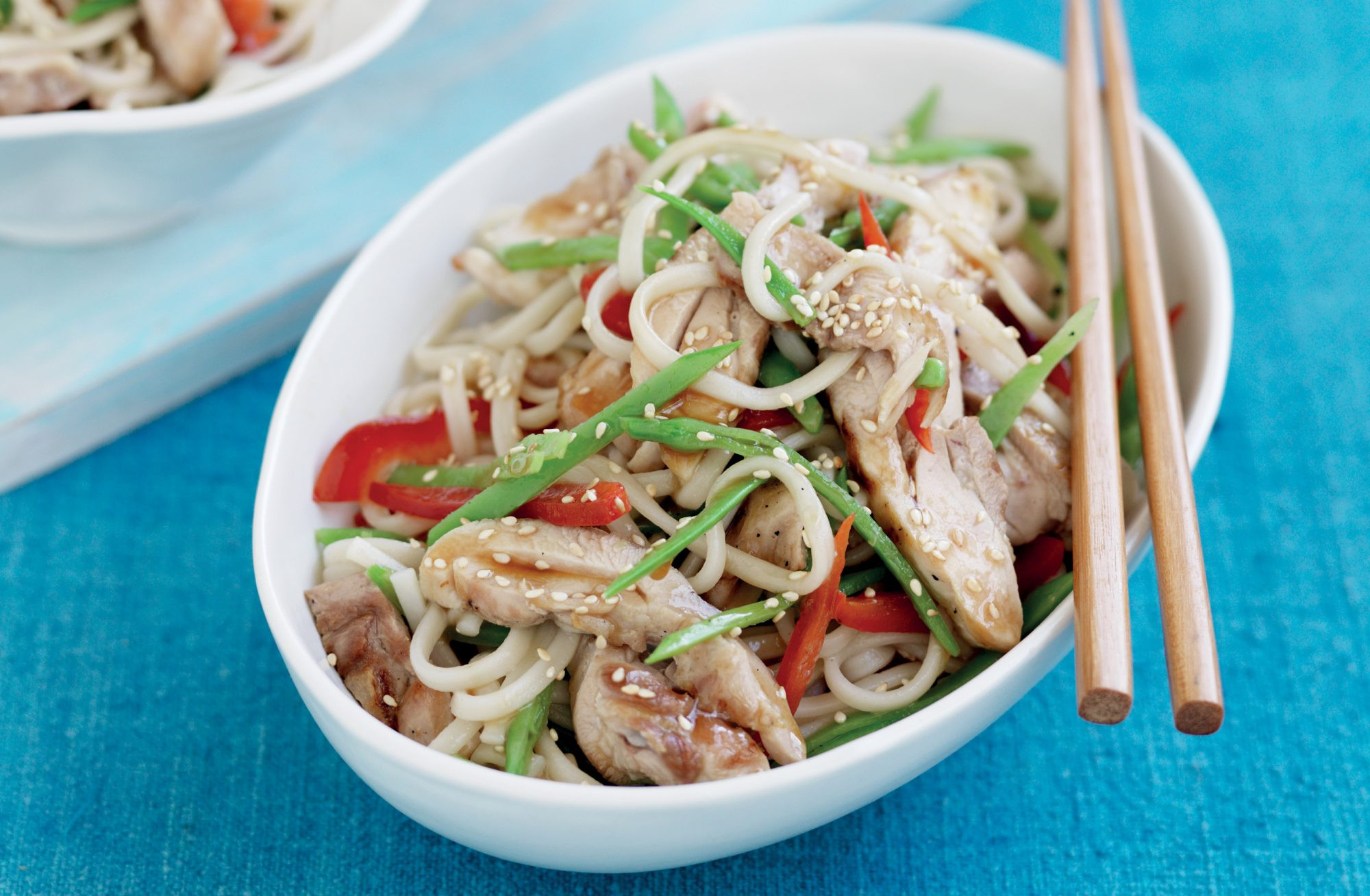 Udon Noodles Healthy  Udon noodles with grilled Asian chicken and snow peas