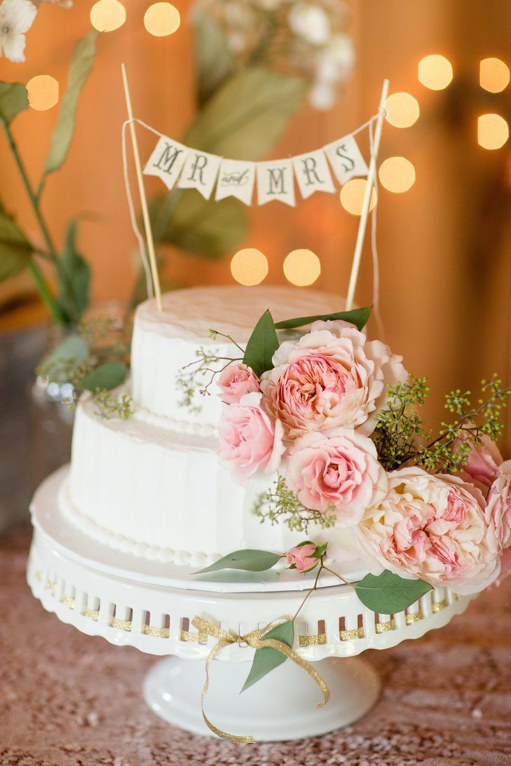 """Ukrops Wedding Cakes  Two Tiered Buttercream Cake with Fresh Flowers and """"Mr"""