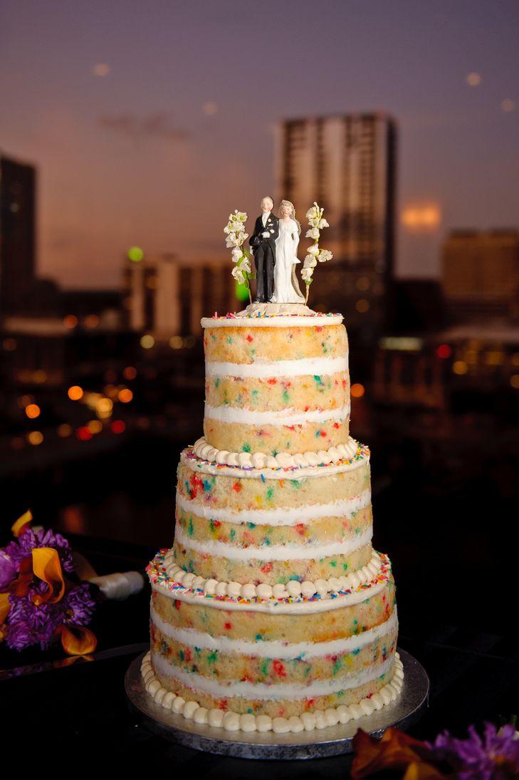 Unfrosted Wedding Cakes  Unfrosted Wedding Cake with Sprinkles