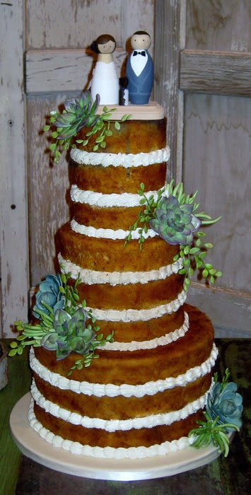 Unfrosted Wedding Cakes  Unfrosted succulent wedding cake Cake by sking CakesDecor