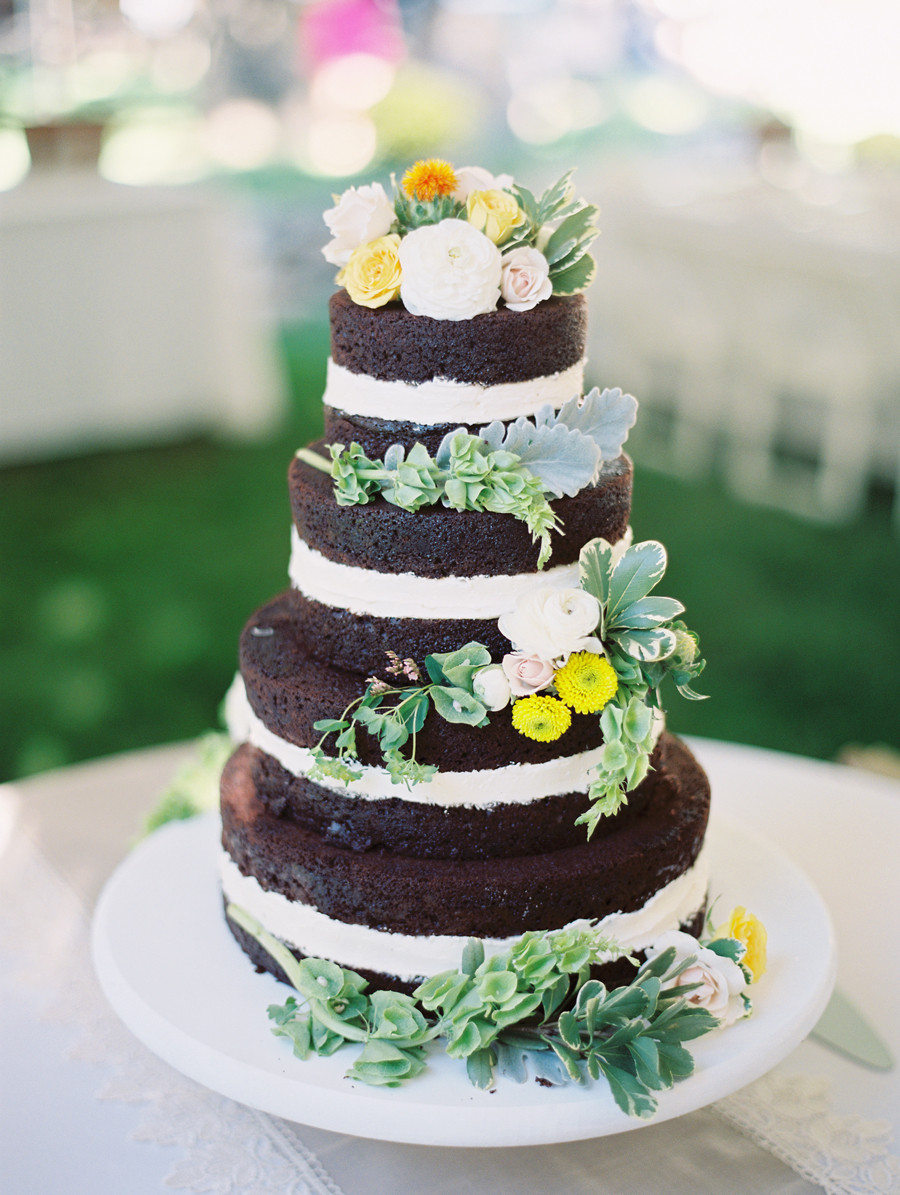 Unfrosted Wedding Cakes  Unfrosted Chocolate Wedding Cake Elizabeth Anne Designs