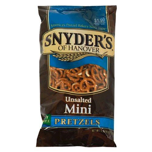 Unsalted Pretzels Healthy  Galleon Snyder s Hanover Mini Pretzels Unsalted 9
