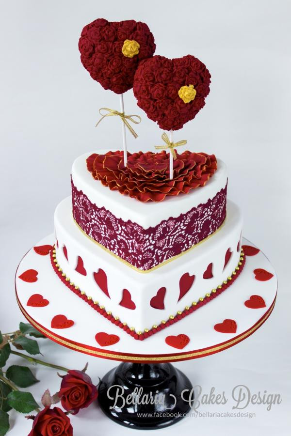 Valentine Wedding Cakes  Valentine wedding cake Cake by Bellaria Cake Design