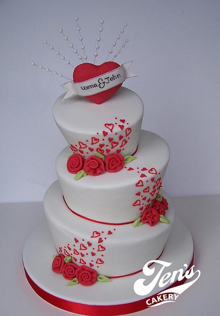 Valentine Wedding Cakes  Uzma & John s Valentine s Wedding Cake