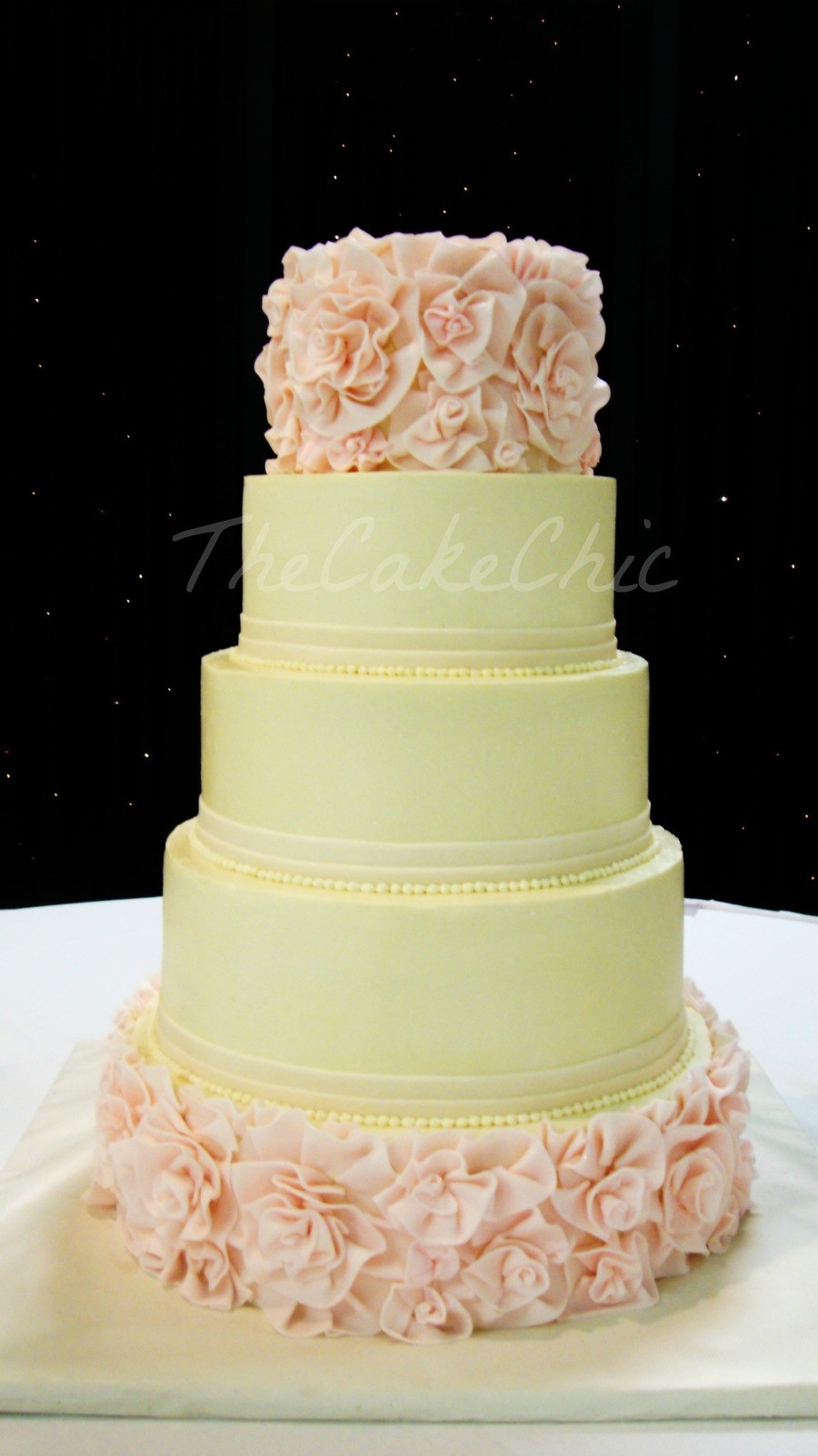 Vanilla Wedding Cakes  Ivory And Blush Flower Ruffle Wedding Cake From Bottom