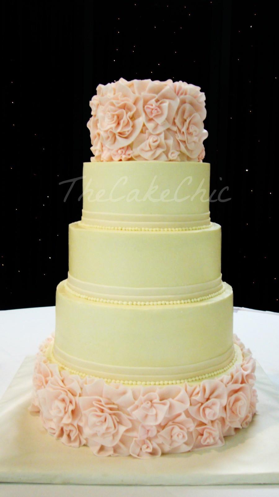Vanilla Wedding Cakes  Ivory And Blush Flower Ruffle Wedding Cake From Bottom