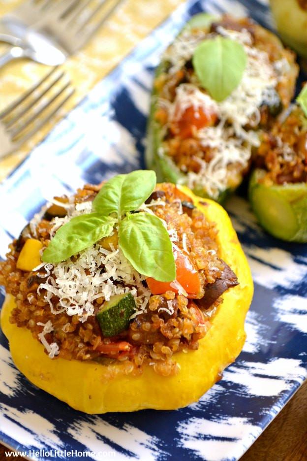 Vegan Summer Recipes  Ve arian Quinoa and Sausage Stuffed Summer Squash