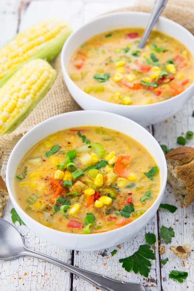 Vegetarian Summer Corn Chowder  ve arian corn and potato chowder