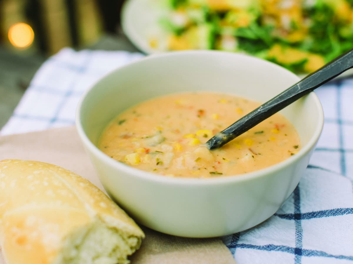 Vegetarian Summer Corn Chowder Panera  Vegan options and protein packed dishes are on Panera