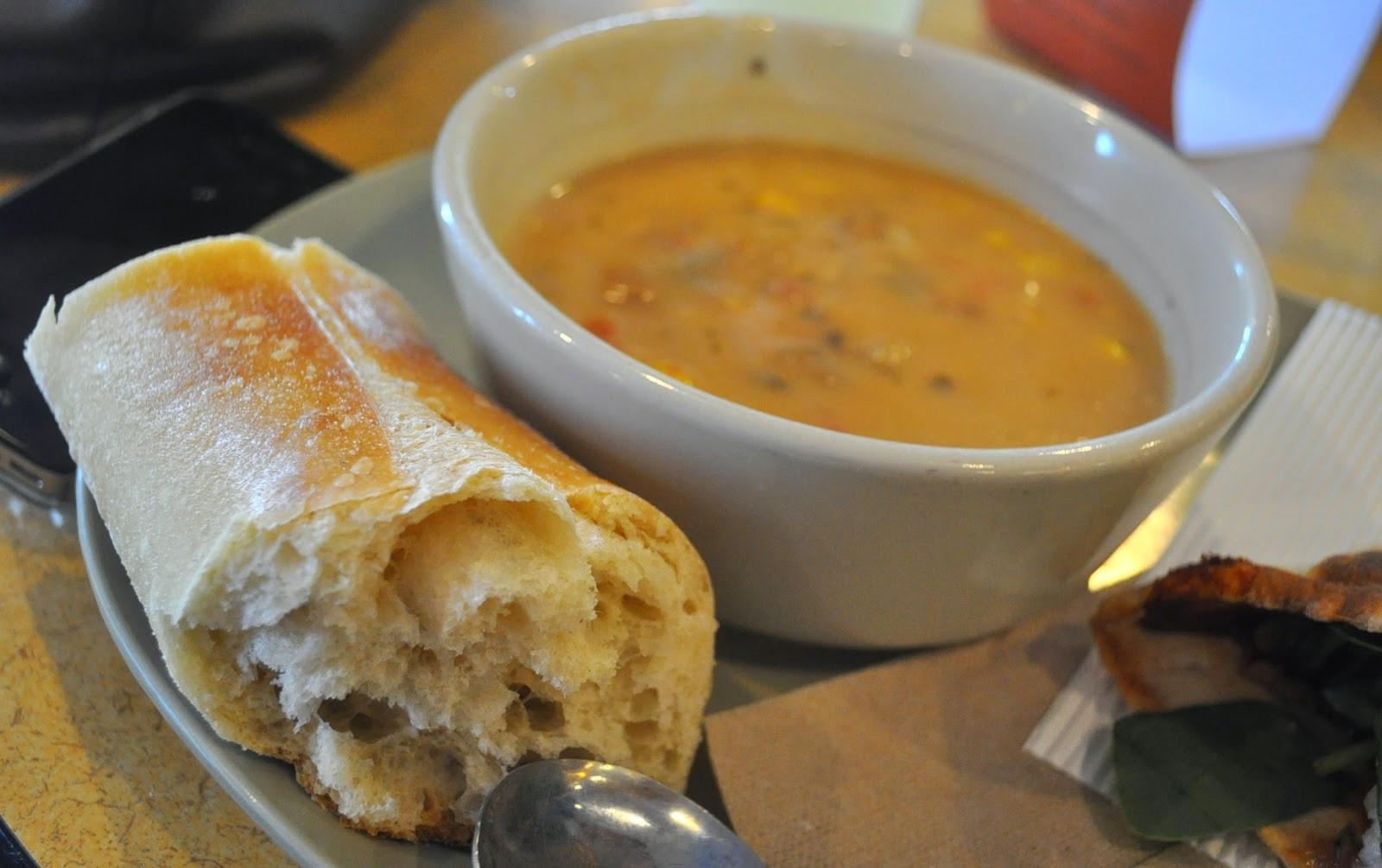 Vegetarian Summer Corn Chowder Panera  Restaurant Review Panera Bread & their new BBQ Chicken