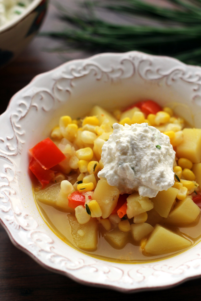 Vegetarian Summer Corn Chowder  Summer Ve able Corn Chowder with Chive Ricotta